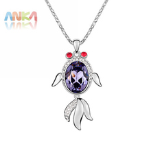 Factory Wholesale Crystal From Swarovski water drop Fish pendant Necklace fashion jewelry women #92889(China)