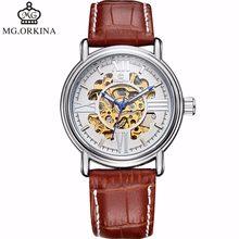 Orkina hombres relojes Top marca de lujo mecánico esqueleto reloj dial  blanco diseño Golden Gear reloj 8bb8e9c220e2