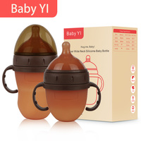Silicone Baby bottle PP Milk Feeding Bottle Width Mouth Adjust Water Cup Hand Holder Shatter Proof Milk Bottles baby care