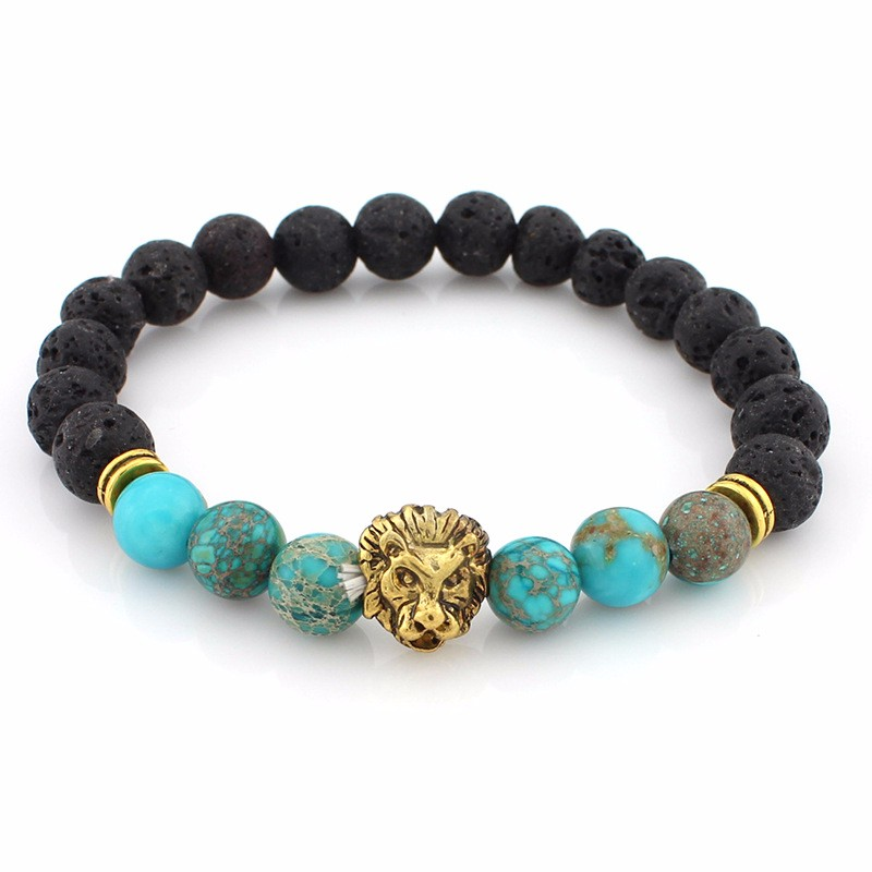 black-lava-stone-bracelets-with-gold-lion-with-sky-blue-colored-natural-stones