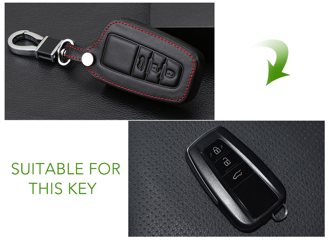 VCiiC Leather Remote Car Keychain Key Cover Case For Toyota Camry CHR Prius Corolla RAV4 Prado 2017 2018 Remote 3 button keyless