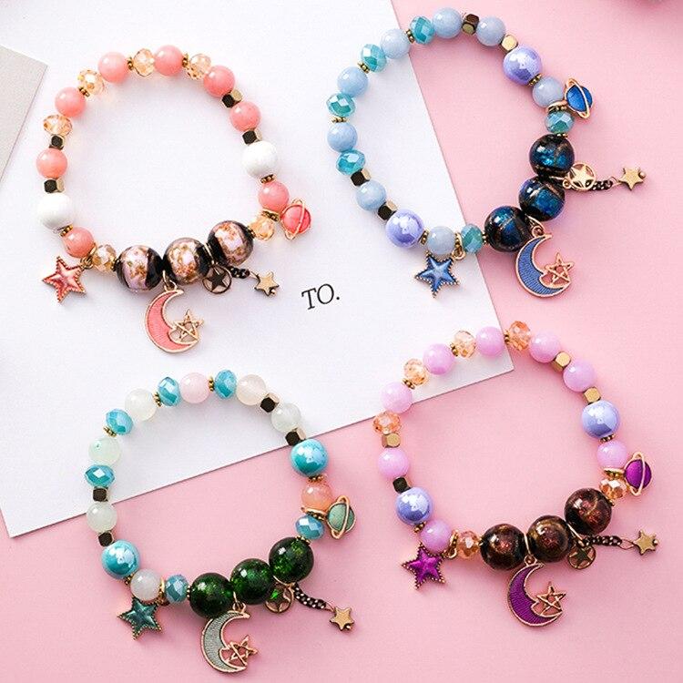 2018 Mode-sieraden Armbanden Voor Vrouwen pulseira feminina Kleurrijke elastische Bead Star Moon boho Charm Armbanden & Bangles
