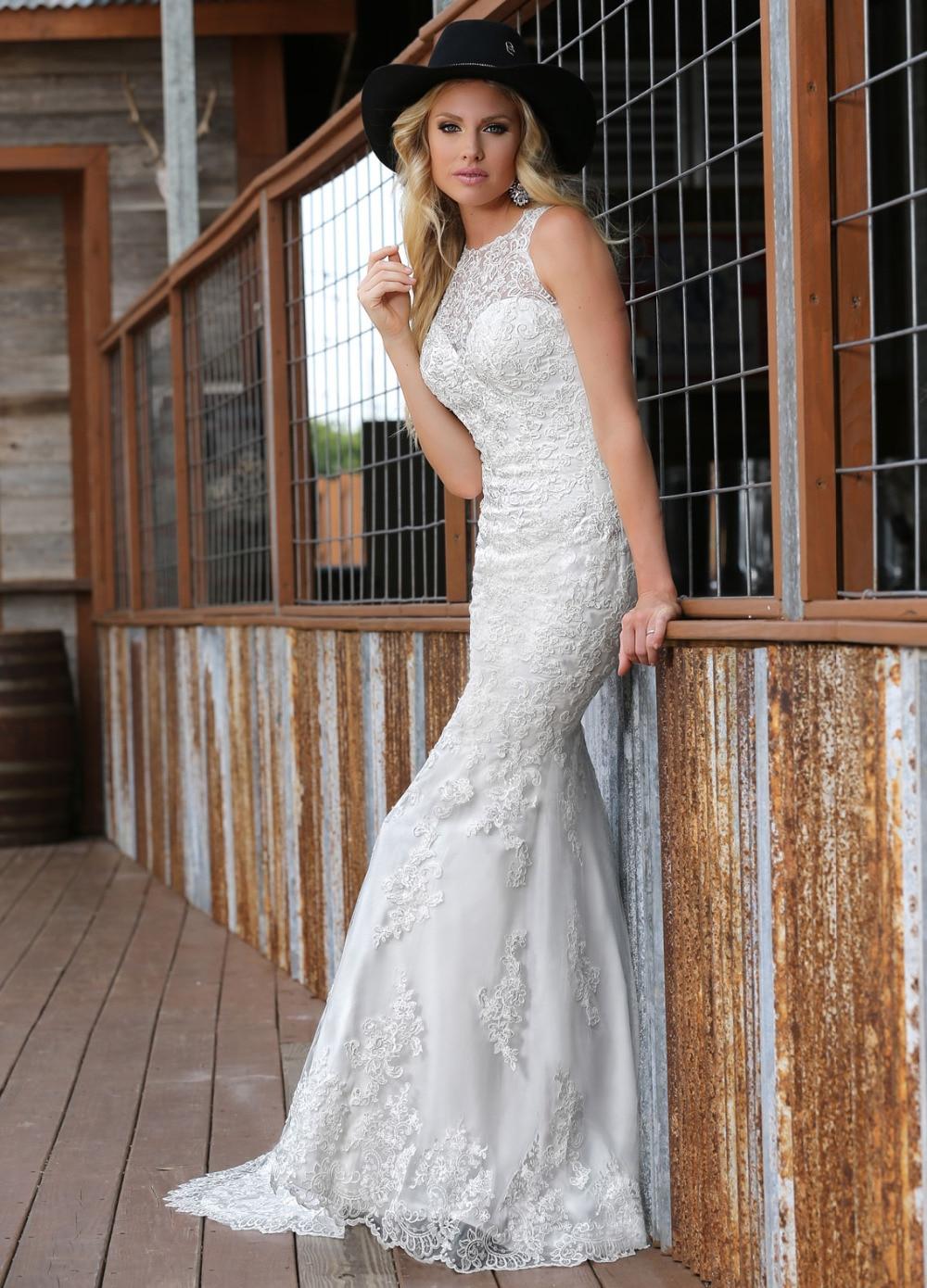 Italian Wedding Dresses High Neck Flores Para Noivas Mermaid Lace ...