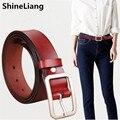 2017 Pin Cinturones para las mujeres de Cuero Piel de Vaca Cuerpo Longitud 115 CM Ancho 3.2 CM de Las Señoras de moda diseñador de la marca de alta calidad caramelo Encantador