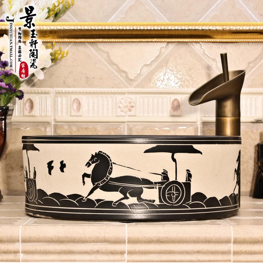 A1 céramique peint à la main art bassin bassin lavabo évier bassin droit chariot LO613309