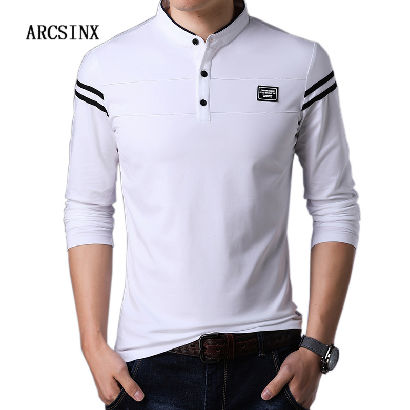 ARCSINX White   Polo   Shirt Men Long Sleeve High Quality Brand   Polo   Men Spring Autumn Casual Cotton Big Size Men's   Polos   Slim Fit