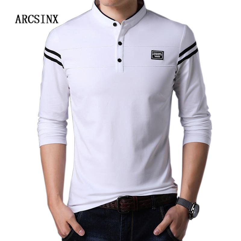 ARCSINX White   Polo   Shirt Men Long Sleeve High Quality Brand   Polo   Men Spring Autumn Casual Cotton Big Size Men's   Polos   Slim Fit