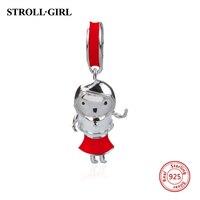 Venda quente charme Ajuste Encantos Dazzling Red Menina contas Pulseiras de prata 925 Original Autêntica DIY Fazer Jóias para As Mulheres Presentes