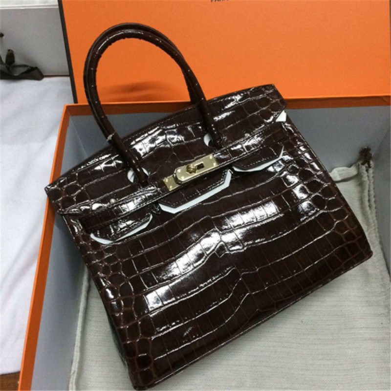 B0190 Crocodile Pattern High Quality Genuine leather Shoulder Bags Woman Famous Brand Luxury Handbags With Logo Women Designer lgloiv real crocodile luxury handbags women bags designer with logo satchel custom made 2018