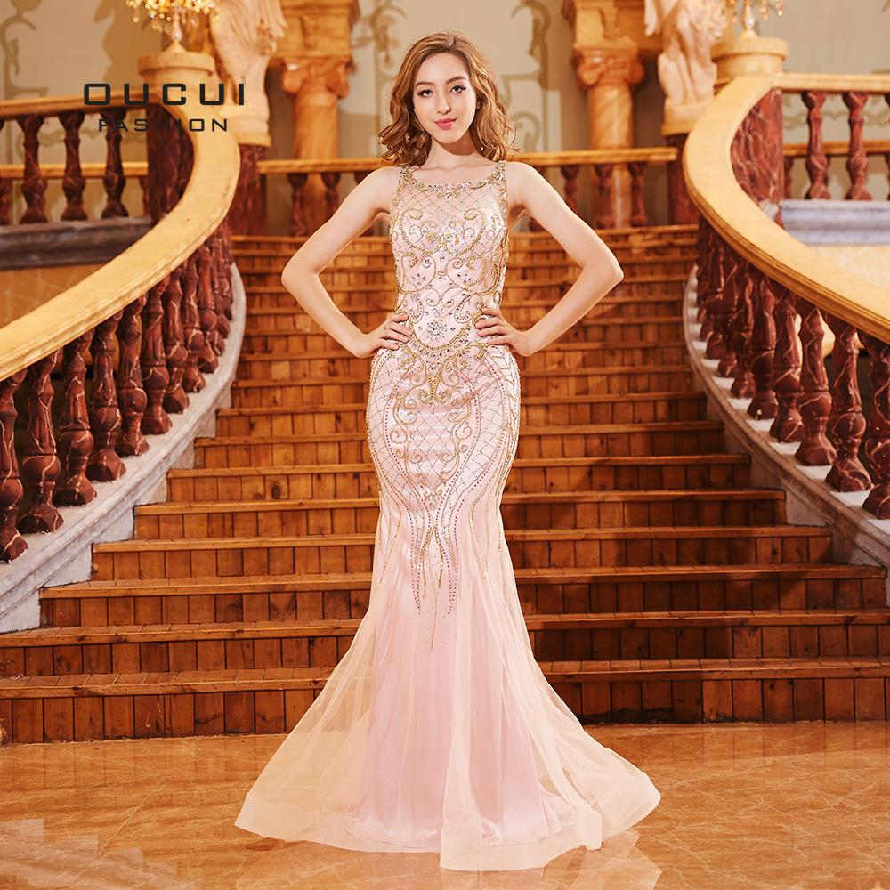 Oucui Pink   Prom     Dresses   Long 2019 Hand Made Crystal Beading See-through Sexy Elegant Mermaid Evening   Dress   Formal OL103307