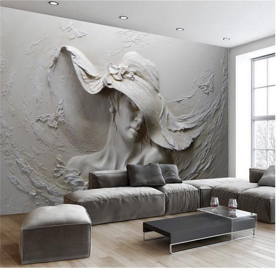 Custom Wallpaper 3D Stereoscopic Embossed Gray Beauty Oil Painting Modern Abstract Art Wall Mural Living Room Bed Room Wallpaper custom 3d mural wallpaper european style diamond jewelry golden flower backdrop decor mural modern art wall painting living room