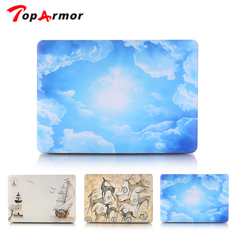 TopArmor Blue Sky Hard Shell Case for Apple Macbook Air Pro 11 12 13 15 Inch Retina Laptop Bag Shell Latest Trend Best Sell