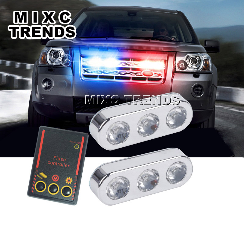 2pcs 3led red blue flash controller car led police strobe light 12v 2pcs 3led red blue flash controller car led police strobe light 12v chrome lamptruck emergency warning 3 flashing fog lights in car light assembly from aloadofball Gallery