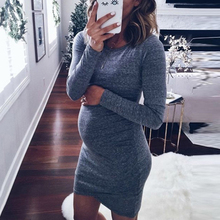 Pregnant Women Fashion Dresses Fancy Maternity Solid Color Clothes Black White Gray Autumn Long Sleeves Dress