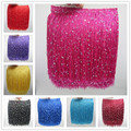 YY-tesco 10 Meters 20CM Long Polyester Sequins Tassel Fringe Lace Trim Ribbon Sew Latin Dress Stage Garment Curtain Accessories