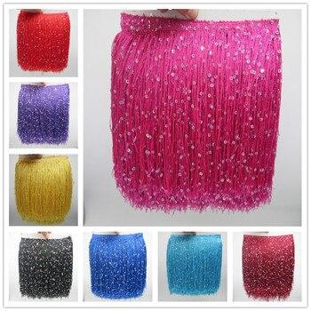 03cbefd118c6 YY-tesco 10 metros 20 CM largo de poliéster lentejuelas borla flecos encaje  cinta coser Latina vestido de etapa de prendas de vestir accesorios para ...