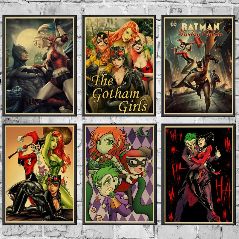 DC Movie Series Harley Quinn And The Joker Retro Poster Vintage Prints Wall Decor For Home Bar Cafe Wall Sticker Painting