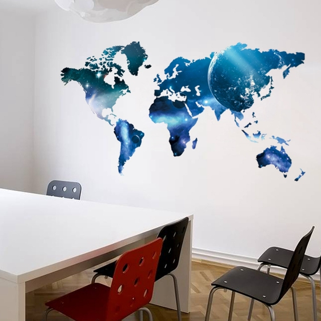Home Decor Wall Decoration Blue World Map Wall Stickers For Bedroom Living  Room TV Setting Study