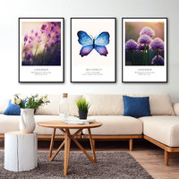 Modern Refreshing Purple Lavender Flowers Canvas Paintings Butterfly Posters Home Wall Art Pictures Living Room Decor