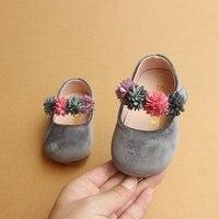 Осень 2017 г. цветы принцесса для маленьких девочек однобортная повседневная обувь крюк-петля От 1 до 2 лет малышей Туфли на низком каблуке для ...
