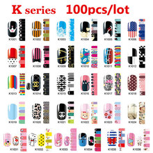 100pcs Hot Nail Art Patch Sticker Mix Designs Full Cover Adhesive Nail Wraps DIY Nail Accessories Wholesale