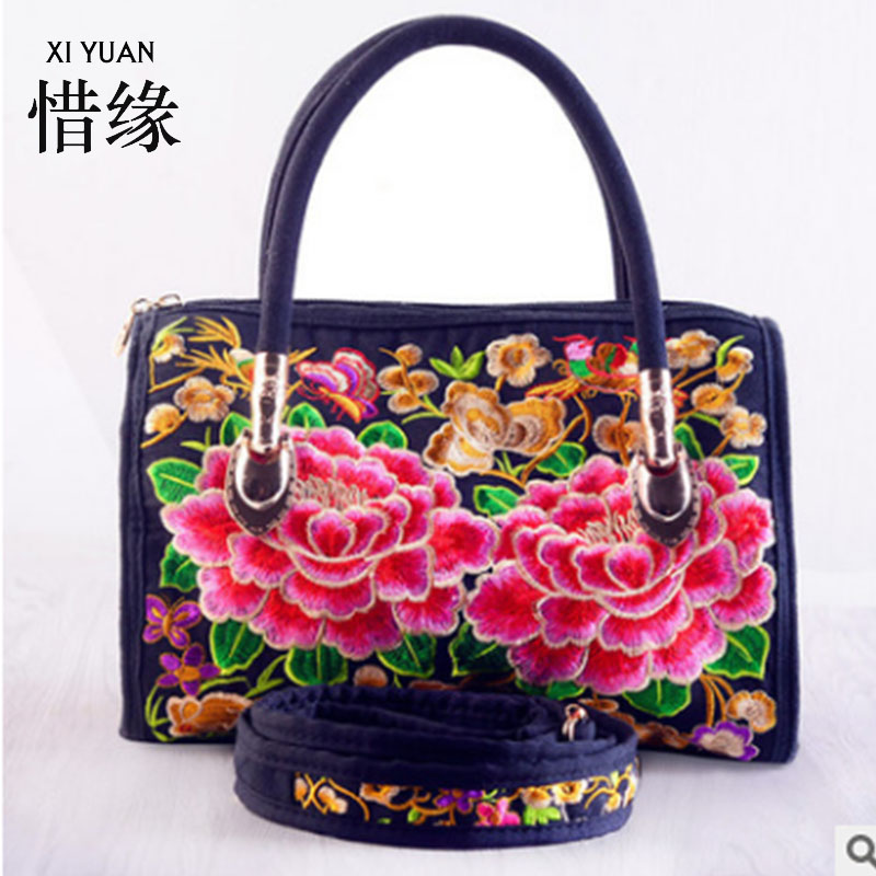 XIYUAN BRAND women embroidery bag embroidered handbags ethnic,floral womans shoulder embroidered handbags ethnic embroidered black cami dress for women