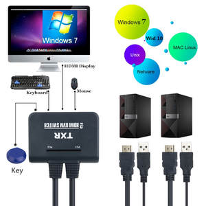 2 Port USB+HDMI KVM Switch with Cables Mouse and Keyboard Sharing Device Link Black