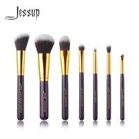 Jessup 7pcs Set Pro MakeUp Cosmetic Set Eyeshadow Foundation Wood Brush Blusher Makeuo BrushesTools Purple Gold