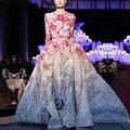 Горячая Продажа!!! новый Год Dress Новый 2016 Взлетно-Посадочной Полосы Maxi Dress Дамы С Длинным Рукавом Sweet Цветочные Печатный Длинные Maxi Dress