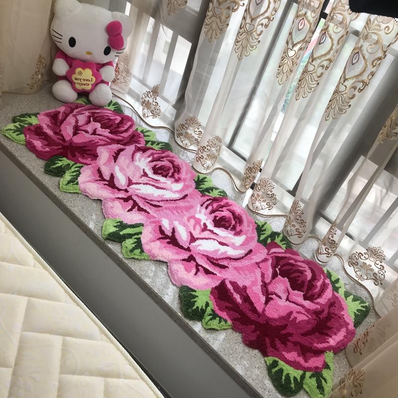 Boutique à la main Rose/rouge Rose broderie longue bande tapis décor de salle de mariage tapis doux/tapis cuisine Restaurant antidérapant tapis