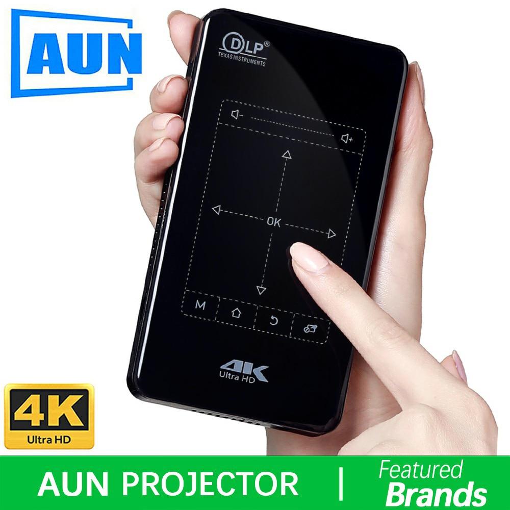 Marca AUN Proiettore Android. Supporto 4 k, 1080 p. MINI Proiettore con WIFI, Bluetooth, 4,000 mah Batteria. Portatile Theater. D7
