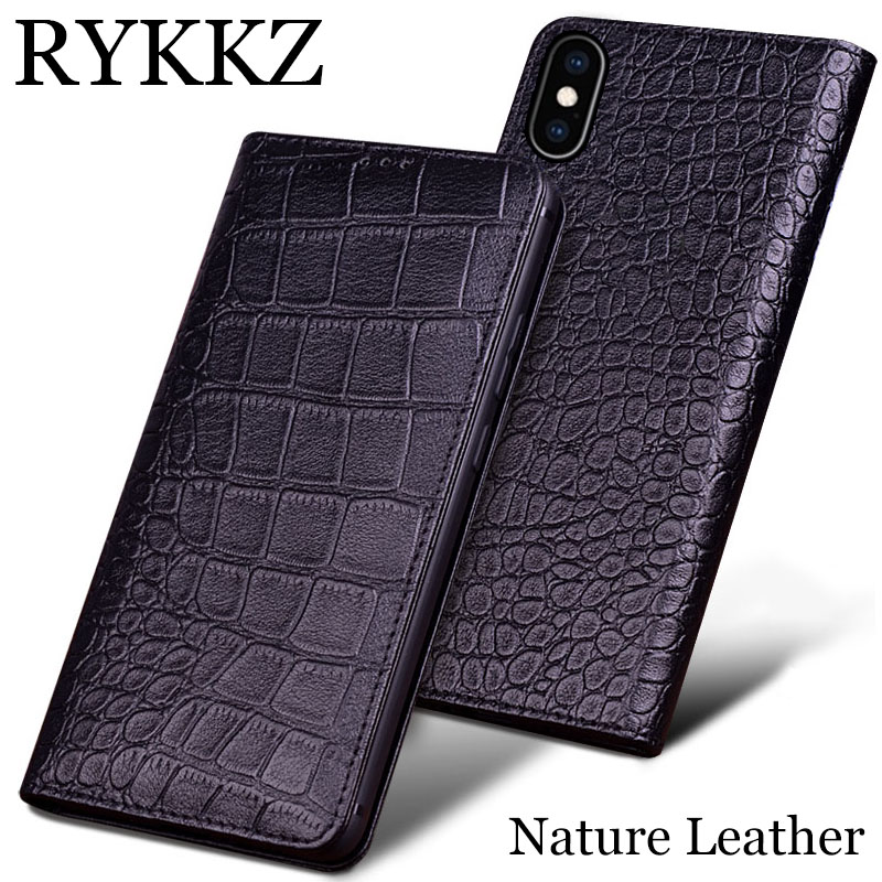 RYKKZ Genuine Leather Case For Apple iPhone XR Ultra Thin Flip Cover Cases XS Max