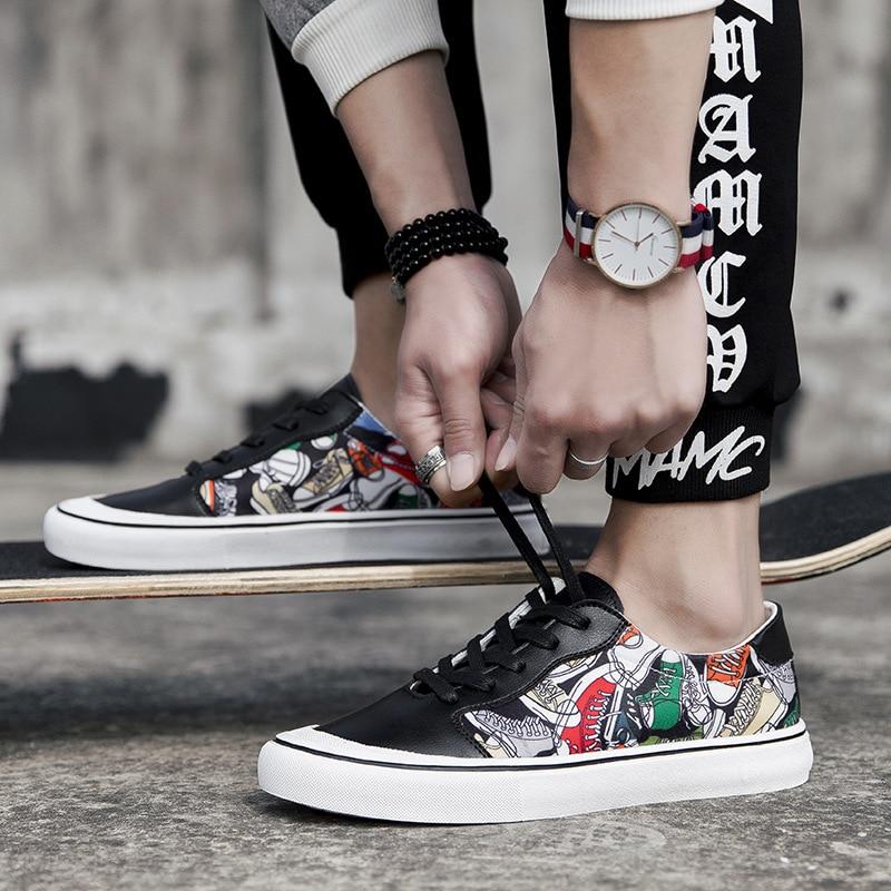 Graffiti bricolage chaussures plat breakdance planche à roulettes chaussure Vogue mâle Ventilation Arder chaussures homme Sneaker cuir chaussures de Skateboard