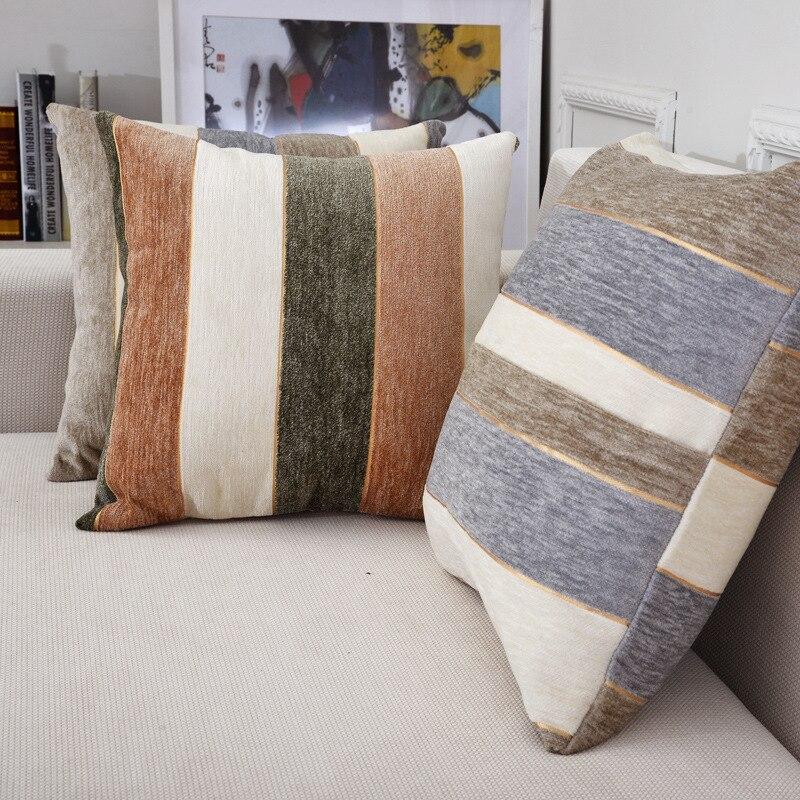 Housse de coussin à motif rayé   Housse décorative Simple 0/45x4 5/50x50 cm pour canapé, décoration intérieure pour la maison