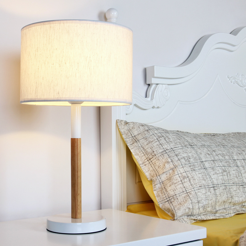 YOOK 28*50CM Creative Wood Simple Table Lamp Bedroom Button Switch Table Lamp Warm Dimming Switch Table Lamp 220v 110v 27E