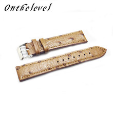 Free shipping leather ostrich pattern 18mm/20mm/22mm/24mm high quality retro universal men and women handmade strap 2018 new цены