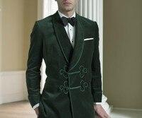 2018 Green Velvet suit smoking tuxedos men classic suit Slim fit wedding party prom dress shawl lapel blazer jacket and pants