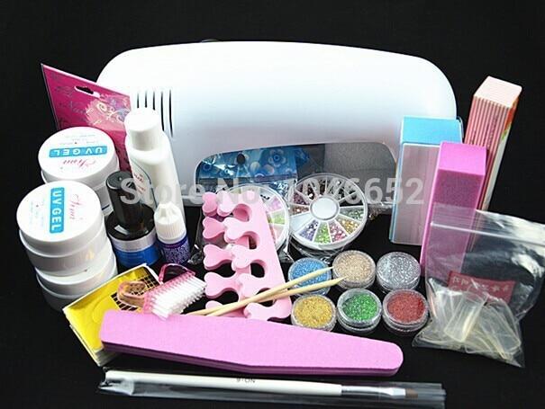 Profesionalni Full Set UV Gel Kit Nail Art Set + 9W Stvrdnjavanje UV - Manikura