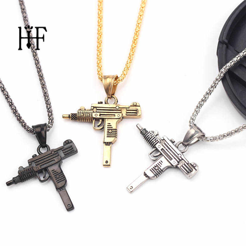 UZI Kolye GUN Shape Pendant Necklace Men Hip Hop Jewelry Gold Color Army Style Male 60cm Chain Men Necklaces Gothic Erkek Kolye