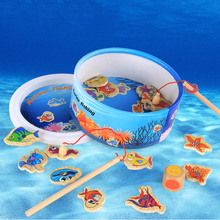Children Fishing Puzzles Toys Wooden Magnetic  3D Jigsaw Kids Funny Game Baby Educational Toy Gifts YJS Dropship fishing game toy set music rotating board 4 fishing poles game for children yjs dropship