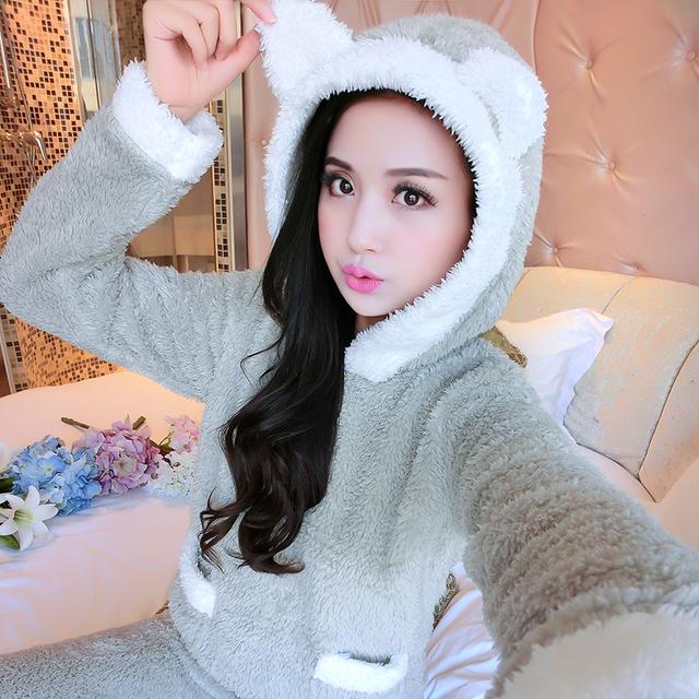 Otoño e invierno gruesa pijama de terciopelo de coral con capucha de la historieta de la largo-manga larga de franela chándal de invierno