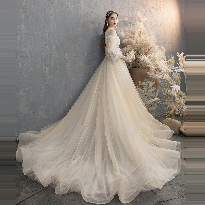 It 39 s YiiYa Wedding Dress O neck Lantern Sleeve Train wedding gowns Appliques Lace Beading Backless Chic Bridal Dresses G027 in Wedding Dresses from Weddings amp Events