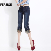 FERZIGE 2018 Women Jeans Shorts Korean women's folk style summer thin stretch beaded embroidery Denim pants dark blue push up 38
