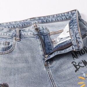 Image 3 - بنطلون جينز للرجال مطبوع عليه زهرة الملاك من Sokotoo بنطال جينز من قماش الدنيم المطاطي بقصة ضيقة