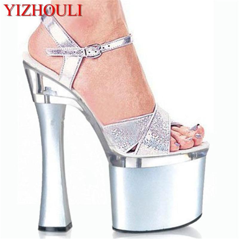 La 7 Spool Épais À Talon Pouce Avec Confortable Stiletto Talons Glitter Chaussures Cm Sexy Plate 18 forme Sandales Hauts aqwarOgp