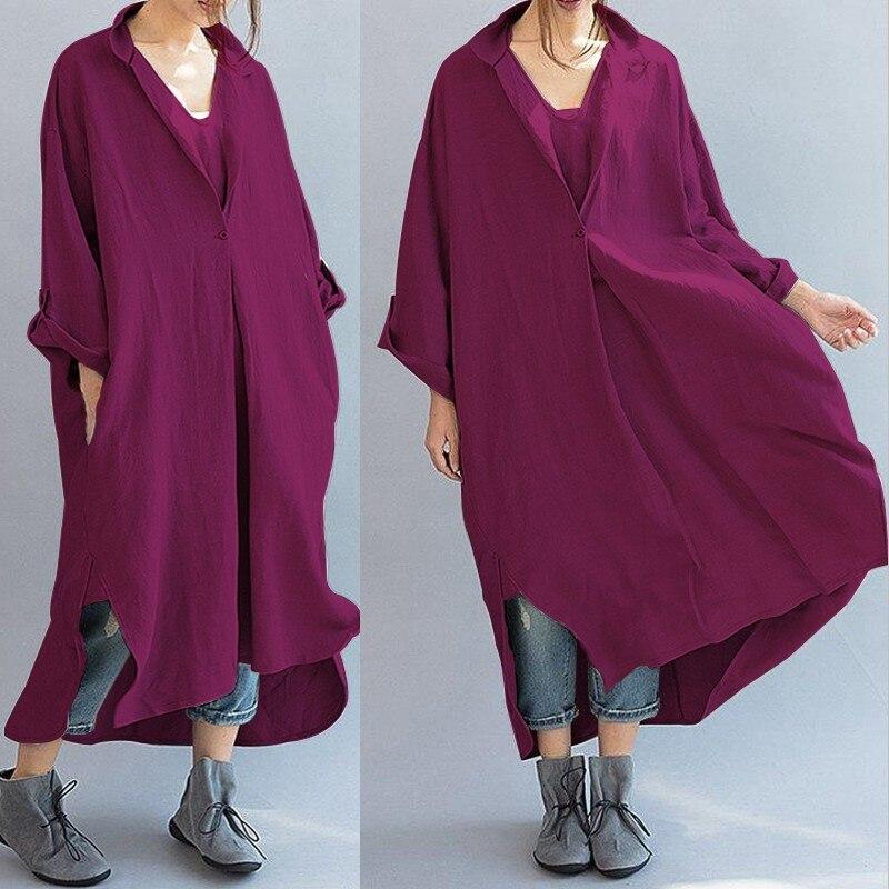Celmia 2018 mujeres Vintage vestido Oversized primavera botón Casual ...