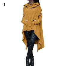 Для женщин «летучая мышь» с капюшоном Асимметричная Повседневное пальто свободного кроя пуловер пончо блузка