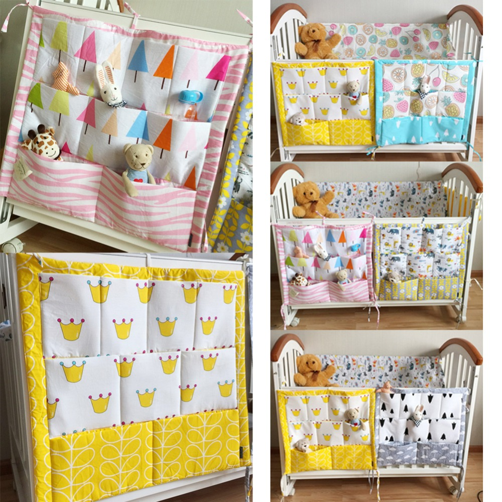 Baby bed accessories - Baby Cot Bed Hanging Storage Bag Cotton Newborn Muslin Tree Crib Organizer Toy Diaper Pocket For