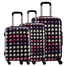 DAVIDJONES 3 Piece Spinner Luggage Set Vintage Print suitcase ABS+PC Water-resistant Upright Travel Trolley Rolling wheel box