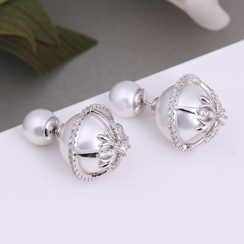 Buy Classic Double Sided Earring Luxury Simulated Pearl Stud Earrings Zirconia Big Stud Earrings brincos boucle d'oreille WE205 for $8.42 in AliExpress store